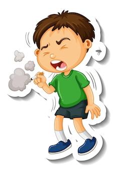 Modèle d'autocollant avec un personnage de dessin animé de fumer garçon isolé