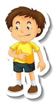 Modèle d'autocollant avec un personnage de dessin animé garçon isolé