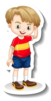 Un modèle d'autocollant avec un personnage de dessin animé de garçon mignon