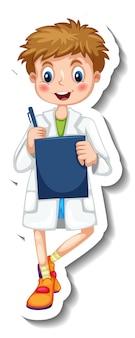 Modèle d'autocollant avec un personnage de dessin animé de garçon scientifique isolé