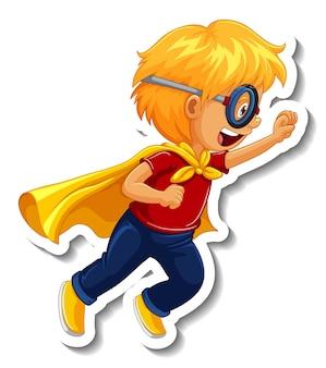 Modèle d'autocollant avec un personnage de dessin animé de garçon de super héros isolé