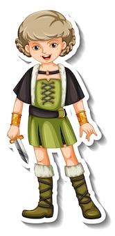 Modèle d'autocollant avec personnage de dessin animé de guerrier viking isolé