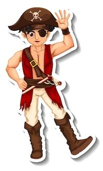 Modèle d'autocollant avec un personnage de dessin animé homme pirate isolé