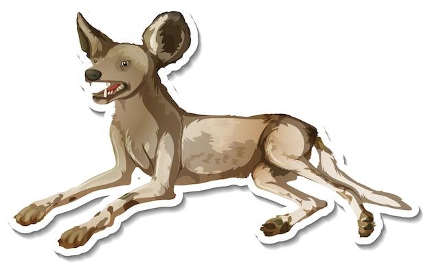 Un modèle d'autocollant de personnage de dessin animé hyène