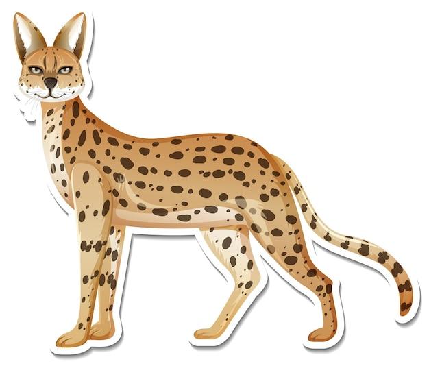 Un modèle d'autocollant de personnage de dessin animé léopard