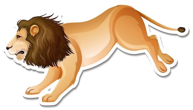 Un modèle d'autocollant de personnage de dessin animé de lion