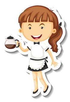 Modèle d'autocollant avec personnage de dessin animé mignon maid isolé