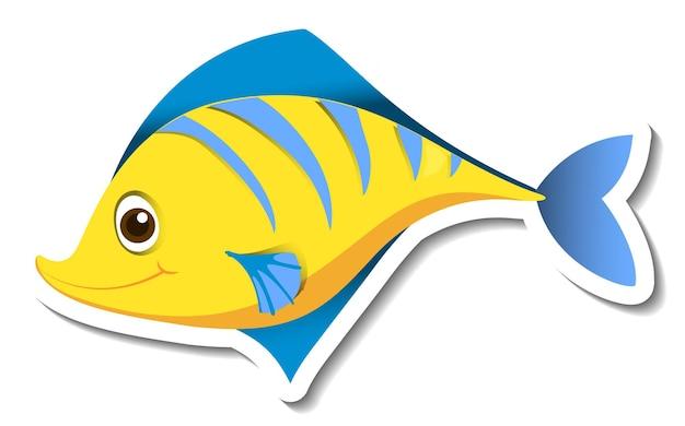Modèle d'autocollant avec personnage de dessin animé mignon poisson jaune isolé