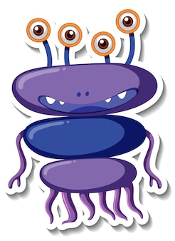 Modèle d'autocollant avec un personnage de dessin animé de monstre extraterrestre isolé