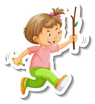Modèle d'autocollant avec un personnage de dessin animé de petite fille isolé