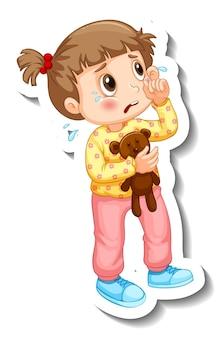 Modèle d'autocollant avec un personnage de dessin animé pleurant de petite fille isolé