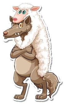 Un modèle d'autocollant de personnage de dessin animé de renard