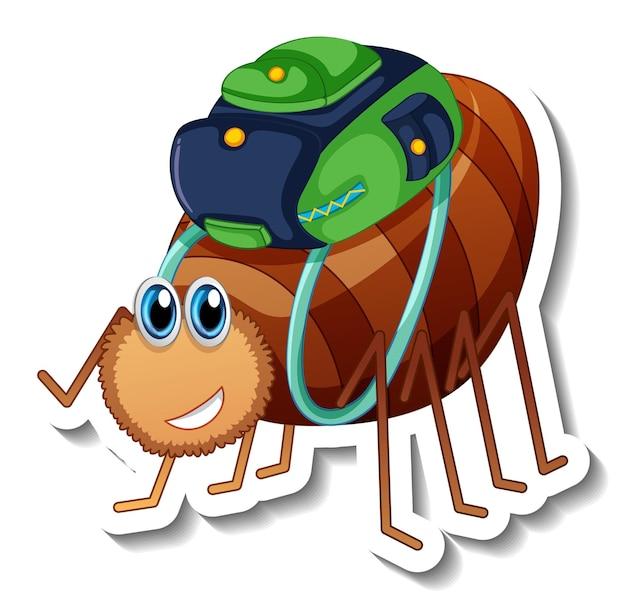 Modèle d'autocollant avec le personnage de dessin animé d'un scarabée isolé