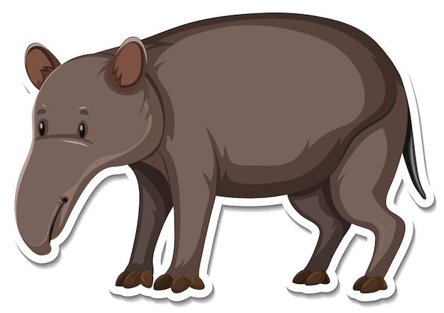 Un modèle d'autocollant de personnage de dessin animé de tapir