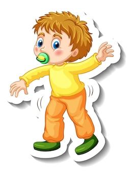 Modèle d'autocollant avec un petit garçon essayant de marcher isolé