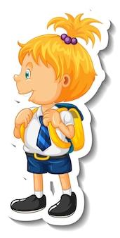 Modèle d'autocollant avec un petit personnage de dessin animé de fille étudiante isolé