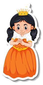Modèle d'autocollant avec un petit personnage de dessin animé princesse isolé