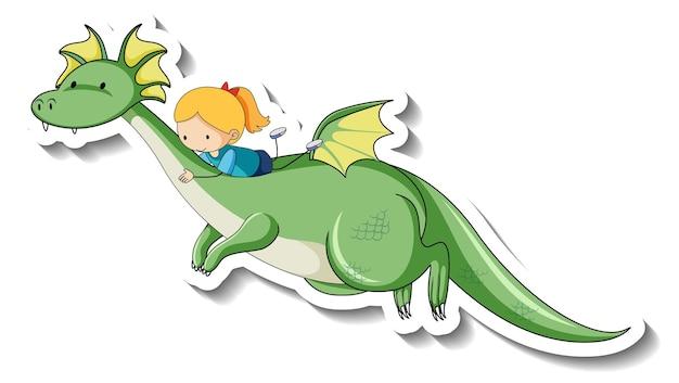 Modèle d'autocollant avec une petite fille chevauchant un dragon fantastique