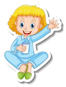 Modèle d'autocollant avec une petite fille en costume de pyjama isolé