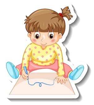 Modèle d'autocollant avec une petite fille dessinant sur un personnage de dessin animé en papier isolé