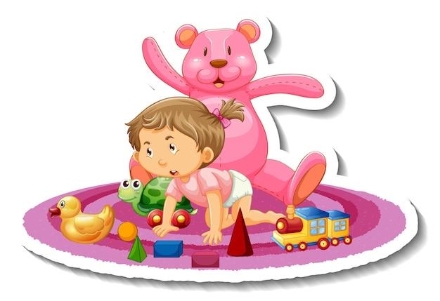 Modèle d'autocollant avec une petite fille jouant avec ses jouets isolés