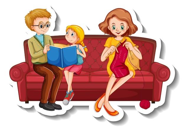 Un modèle d'autocollant avec de petits membres de la famille faisant différentes activités sur un canapé