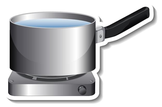 Un modèle d'autocollant de pot avec poignée sur cuisinière à gaz isolé