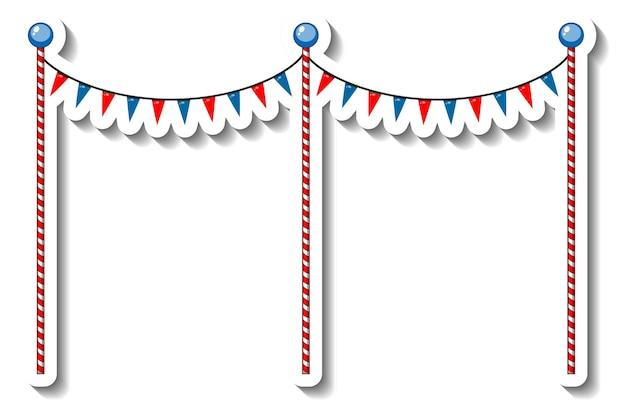 Modèle d'autocollant avec des poteaux de décoration de drapeau pour la fête foraine isolée