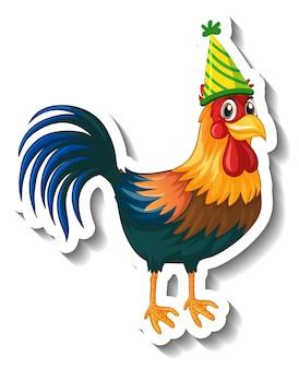 Un modèle d'autocollant avec poulet portant un personnage de dessin animé de chapeau de fête