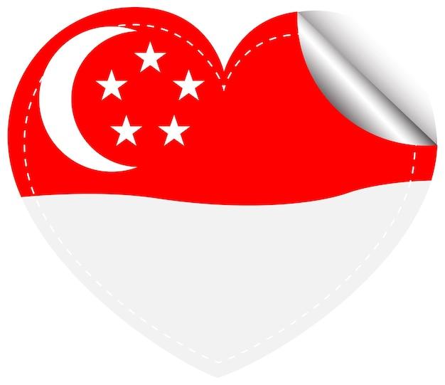 Modèle d'autocollant pour le drapeau de singapour
