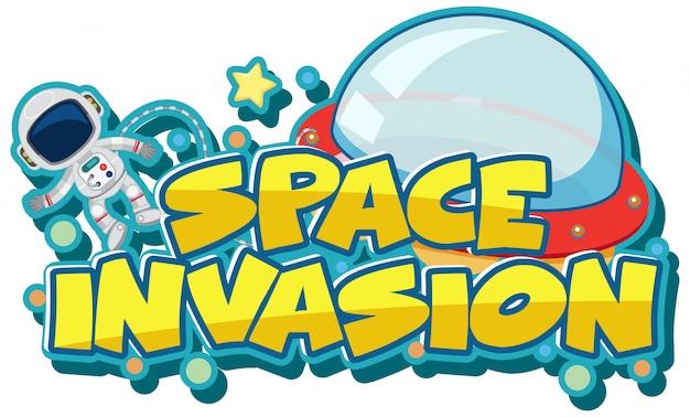 Modèle d'autocollant pour l'invasion spatiale de mot avec astronaute et ovni