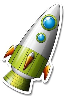 Un modèle d'autocollant avec rocket space cartoon isolé