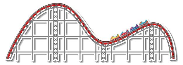 Modèle d'autocollant avec roller coaster en style cartoon