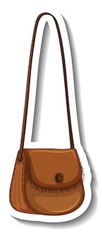 Un modèle d'autocollant avec un sac à bandoulière pour femme isolé