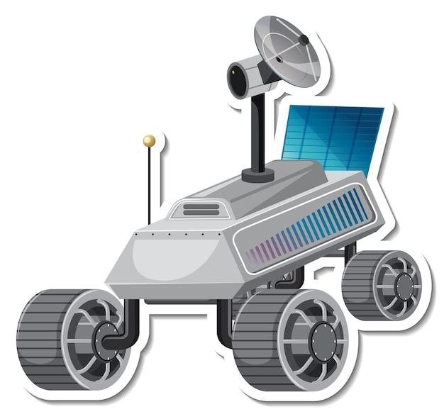 Modèle d'autocollant avec satellite en style cartoon isolé