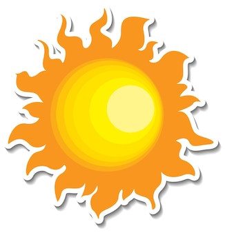 Un modèle d'autocollant avec le soleil en style cartoon isolé