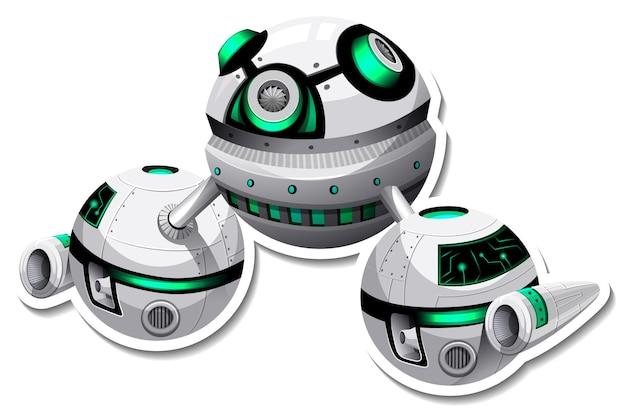 Un modèle d'autocollant avec ufo ou station spatiale isolée