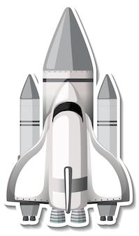 Modèle d'autocollant avec vaisseau spatial isolé