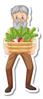 Le modèle d'autocollant avec un vieil homme de jardinier tient une boîte de légumes isolée