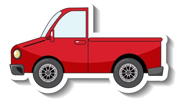 Modèle d'autocollant avec une voiture de ramassage rouge isolée