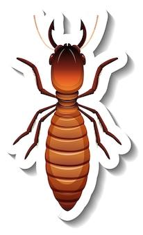 Un modèle d'autocollant avec vue de dessus du termite roi primaire isolé