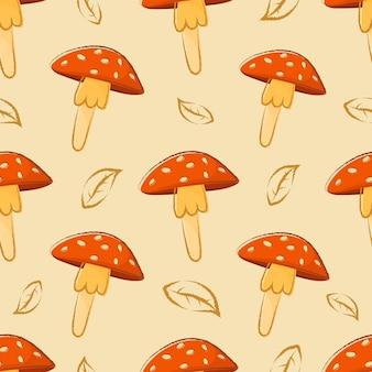 Modèle d'automne sans soudure de vecteur avec dessin animé doodle champignons amanite.