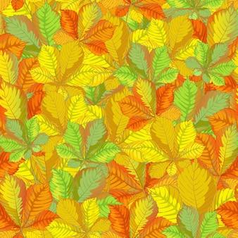 Modèle automne vectorielle continue avec des feuilles de châtaignier tombées.