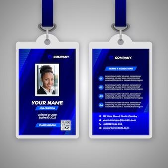 Modèle de badge d'identité abstrait avec photo