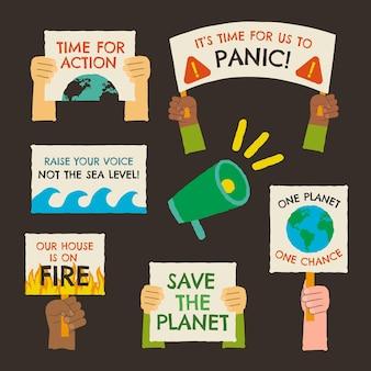 Modèle de badges de changement climatique dessinés à la main