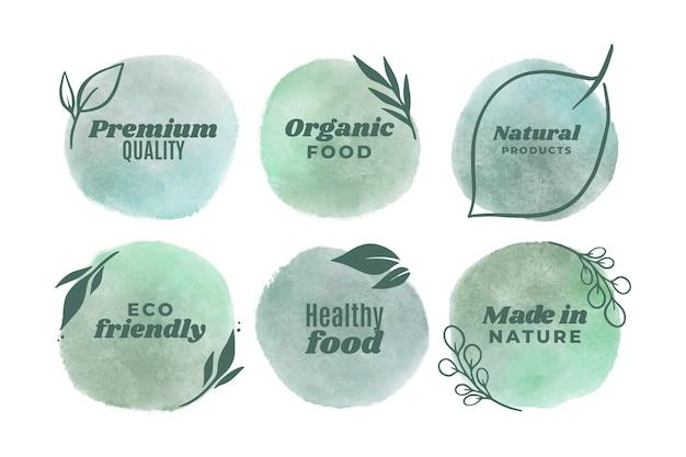 Modèle de badges végétariens aquarelle