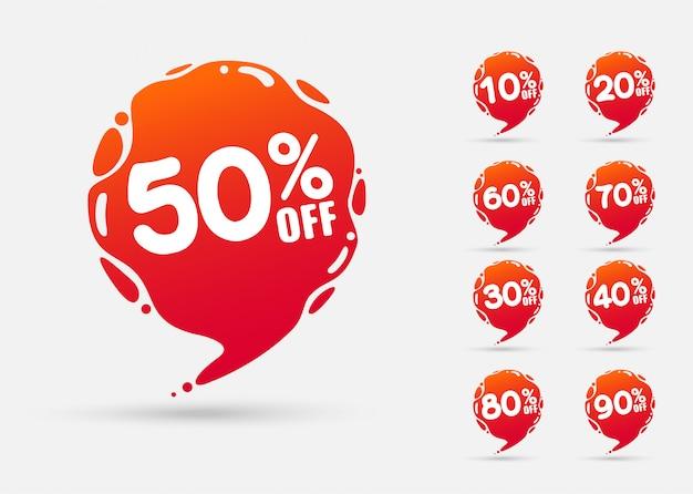 Modèle de badges de vente avec pourcentage de vente