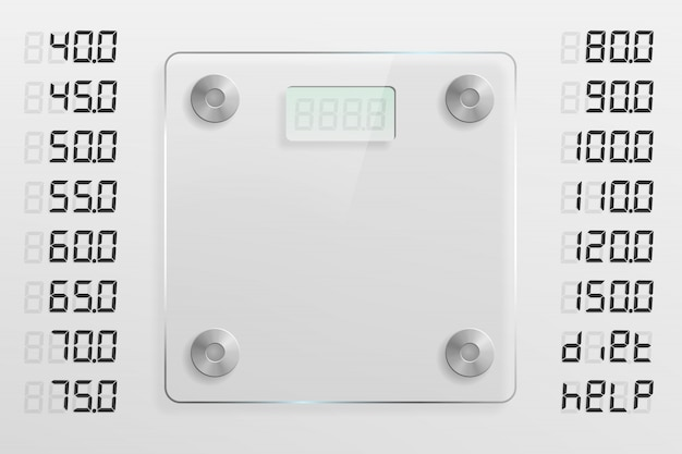 Modèle de balance en verre avec différentes options de poids