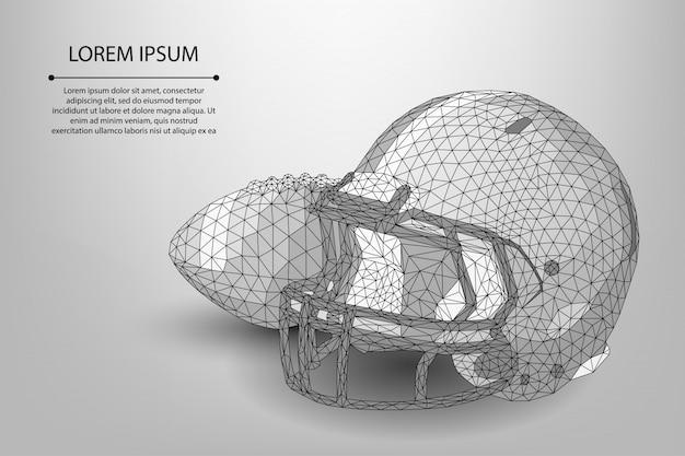 Modèle de ballon et casque de rugby de ligne et point abstrait