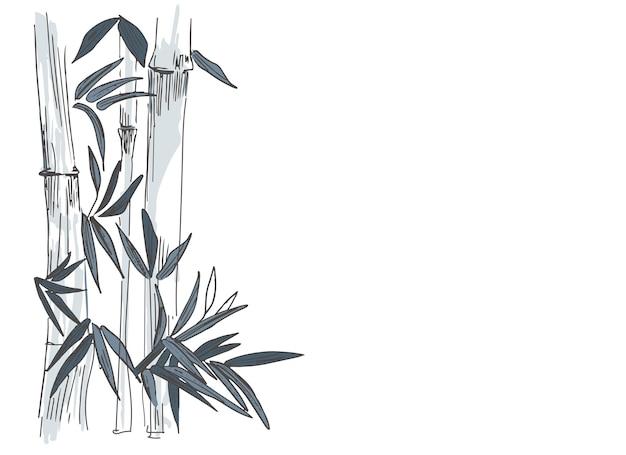 Modèle avec des bambous et des feuilles de palmier